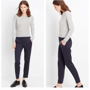 Vince. Dark Blue Cropped Slim Fit Pant Trousers